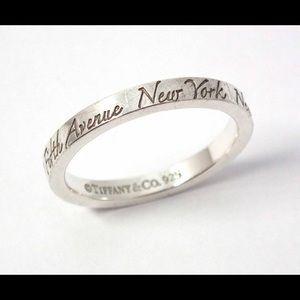 Tiffany script New York ring sterling silver
